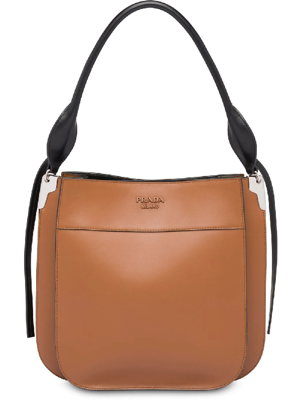 39fb4a117c5a Prada Medium Margit City Leather Bag In F0R6P Cognac+Black | ModeSens