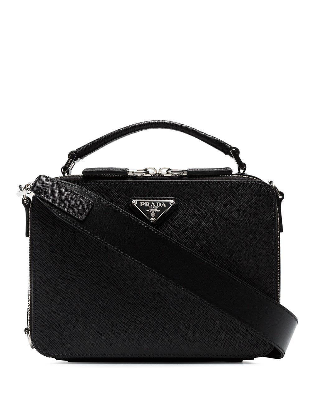 cd1aee470305 Prada Black Brique Saffiano Leather Bag
