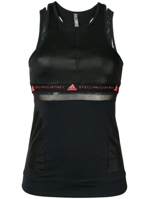 Adidas By Stella Mccartney Esqueleto Run Tank Top In Black