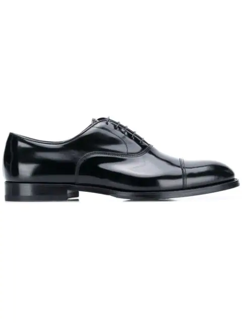 Doucal's Round Toe Oxford Shoes In Black