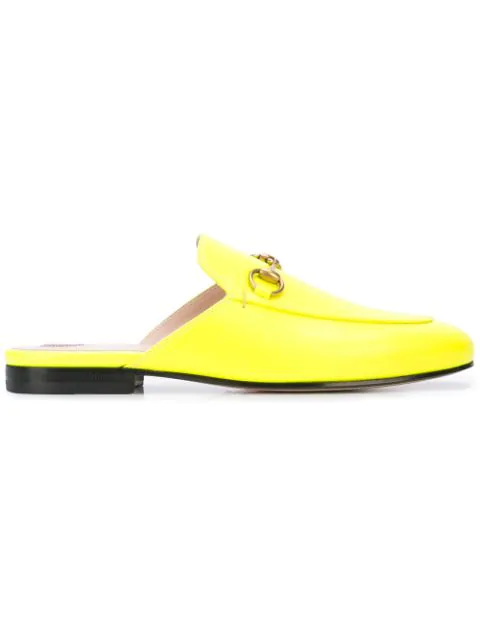Gucci Princetown Leather Slippers In 7205 Yellow Fluo