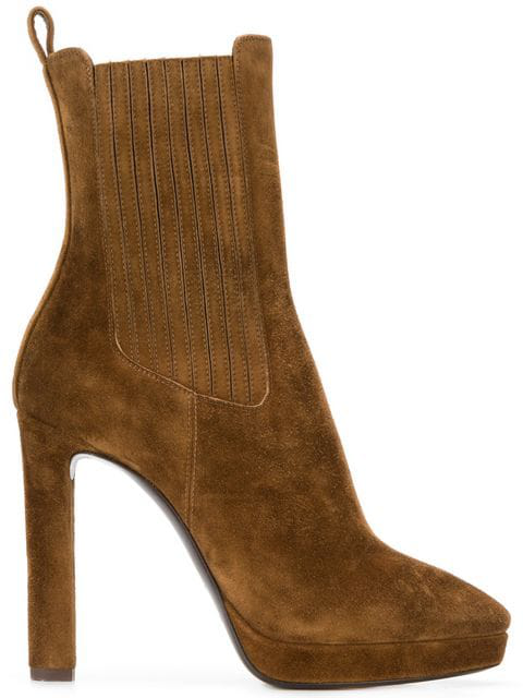 Saint Laurent Lou Ankle Boots In Brown