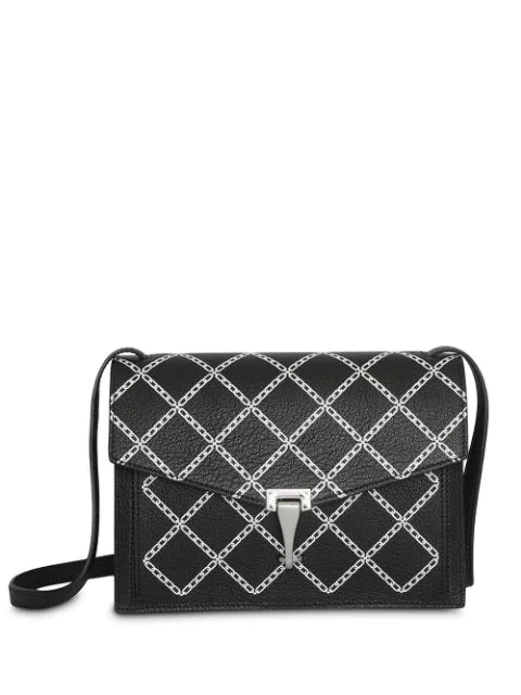 Burberry Small Leather Link Print Cross Body Bag In Black