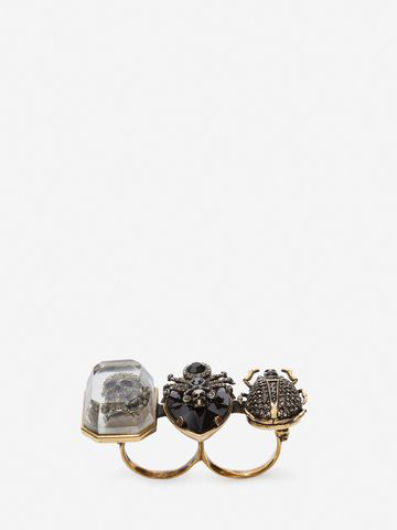 Alexander Mcqueen Jeweled Insect Double Ring In Light Gold
