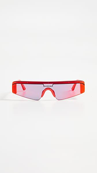 Balenciaga Ski Square-frame Acetate Mirrored Sunglasses In Red