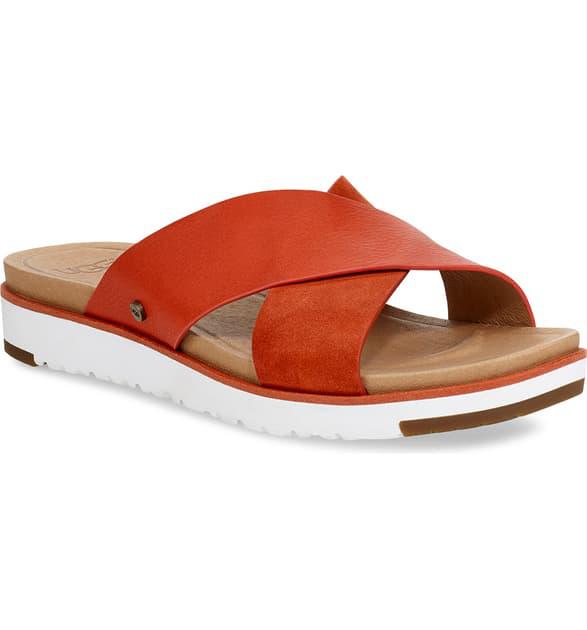 3e9ca52de12 Ugg Kari Slide Flat Sandals In Silver/ Silver Leather | ModeSens