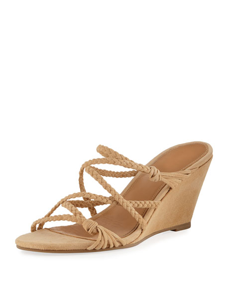 2d296419f6a5 Sigerson Morrison Maddie Braided Suede Wedge Sandals In Beige