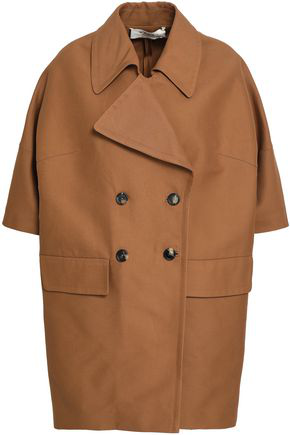 Marni Woman Double-Breasted Cotton Coat Brown
