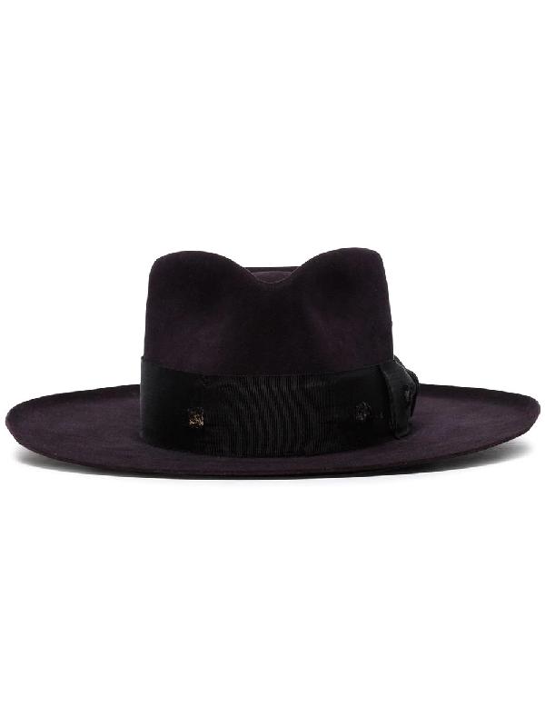 Nick Fouquet Midnight Purple Buena Vista Ribbon Embellished Fur Hat In Black