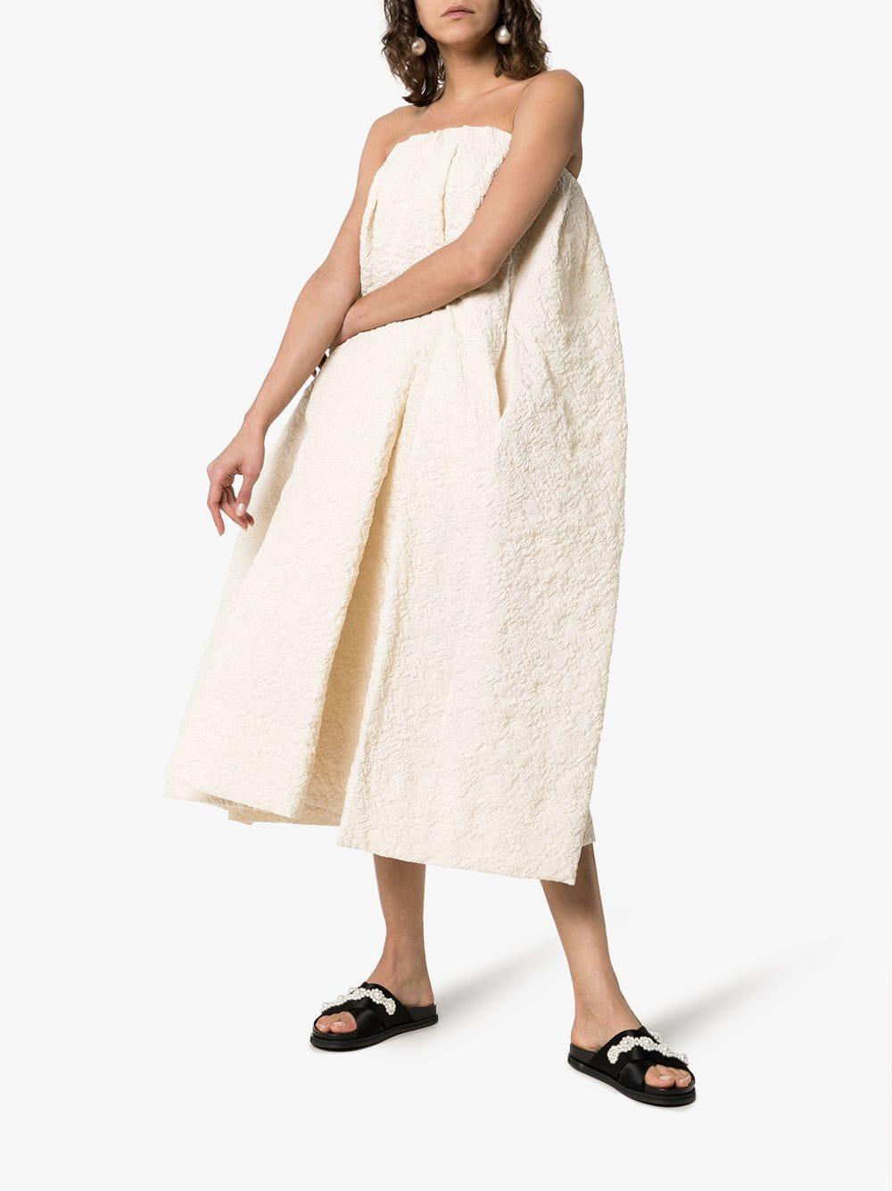 660a867f216ea2 Simone Rocha Paper Floral Midi-Dress In Nude