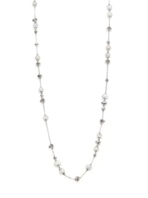 John Hardy Bamboo White Moonstone & Sterling Silver Sautoir Necklace In White Gold