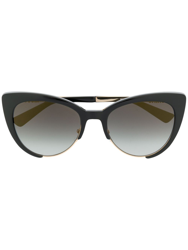 Moschino Eyewear Tortoiseshell Cat Eye Sunglasses In Black