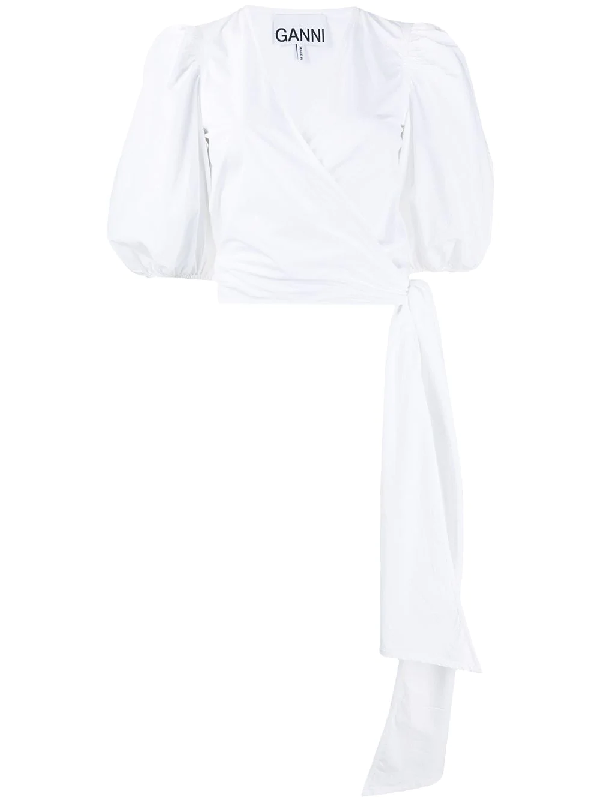 Ganni Blouson-sleeve Cotton-poplin Wrap Top In White