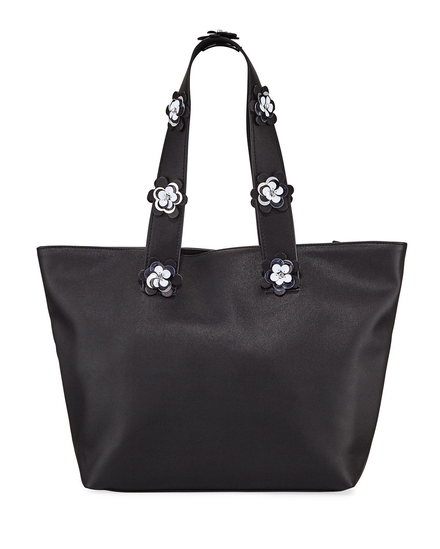 Christian Siriano Jasmine Floral Handle Tote Bag In Black