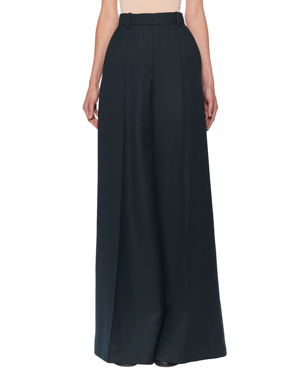 The Row Isla Wide-Leg Wool Pants In Dark Green