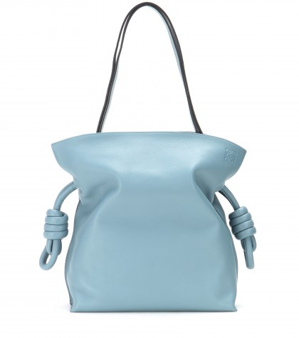 Loewe Flamenco Knot Small Leather Shoulder Bag In Light-Blue