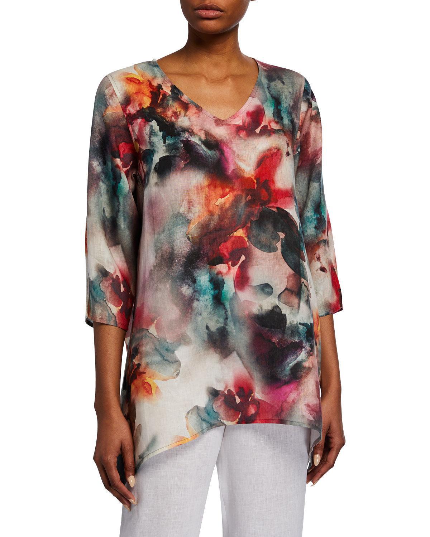 e9c657b9 Caroline Rose Plus Size Sunset Watercolor V-Neck 3/4-Sleeve Side ...