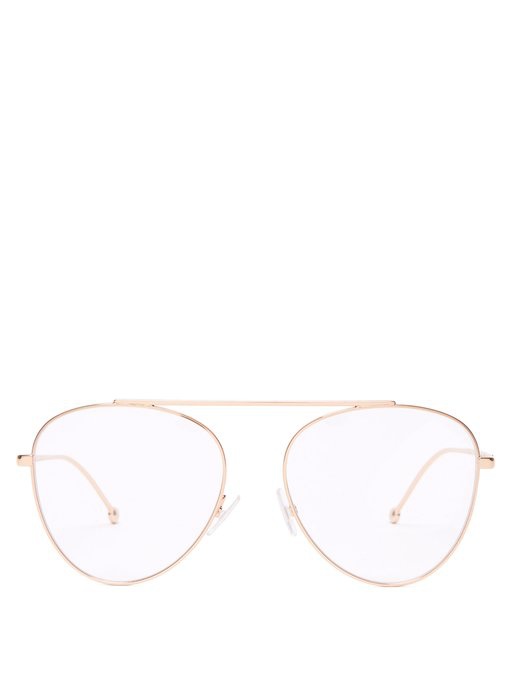 4851b0965044 Fendi - Round Frame Stainless Steel Aviator Glasses - Womens - Rose Gold