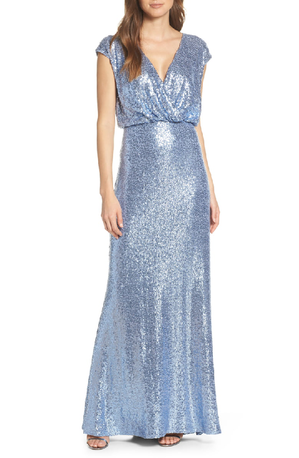 Sequin Lace Evening Dress In Cadet Blue