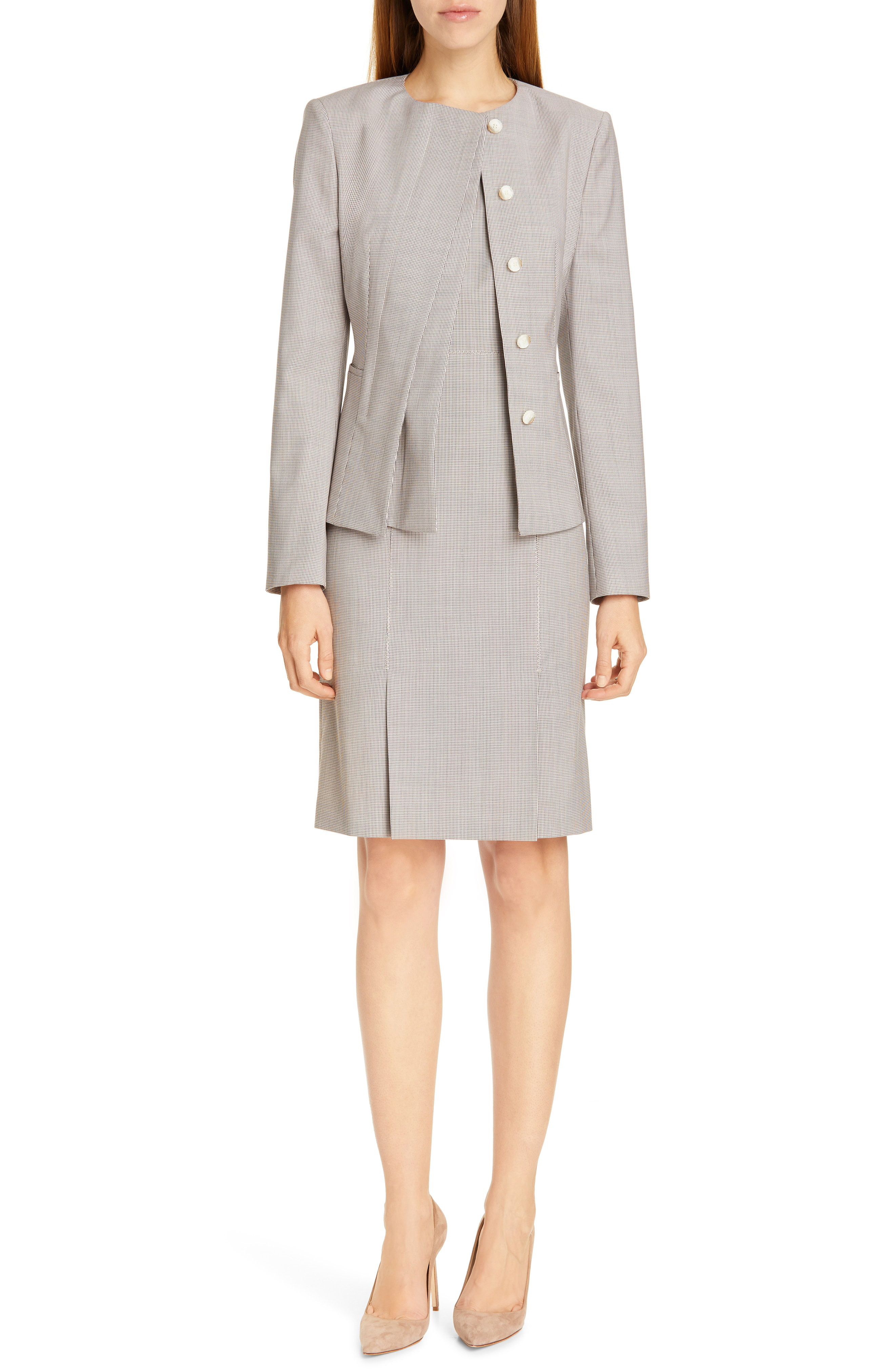 c5abe8ae15a Boss Jadela Mini Houndstooth Wool Suit Jacket In Vanilla Lavender ...