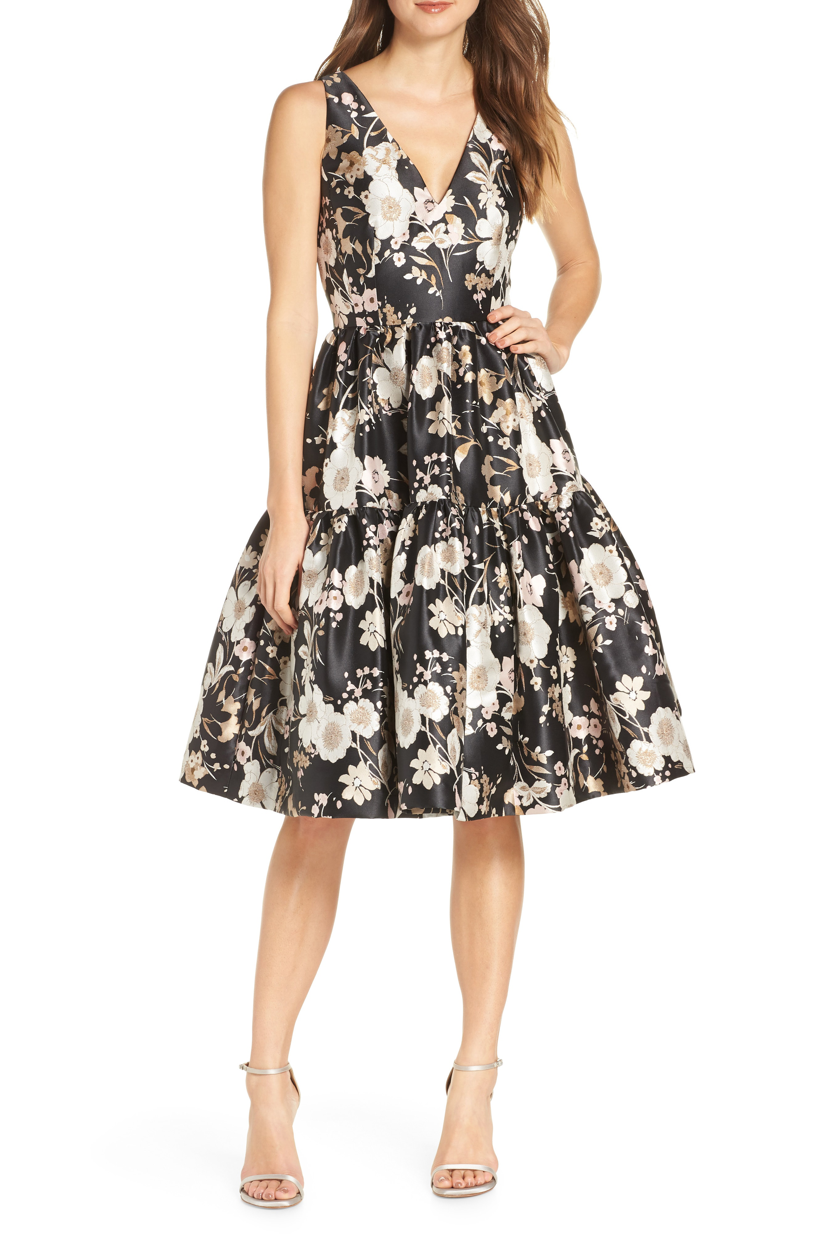ab5612c85b17 Eliza J Floral Jacquard Fit & Flare Dress In Black White | ModeSens