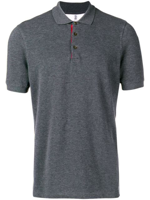 Brunello Cucinelli Contrast Detail Polo Shirt In Grey