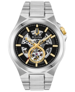 Bulova Men's Automatic Maquina Stainless Steel Bracelet Watch 46Mm In Silver