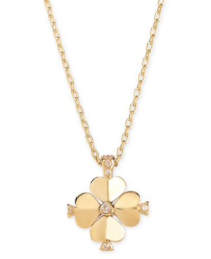"Kate Spade Gold-tone Crystal Flower 19"" Pendant Necklace In Clear/gold"