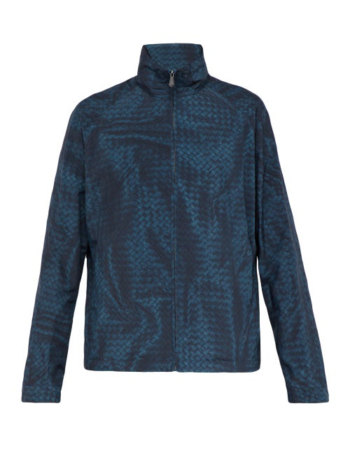 Bottega Veneta Intrecciato Print Nylon Jacket In Blue