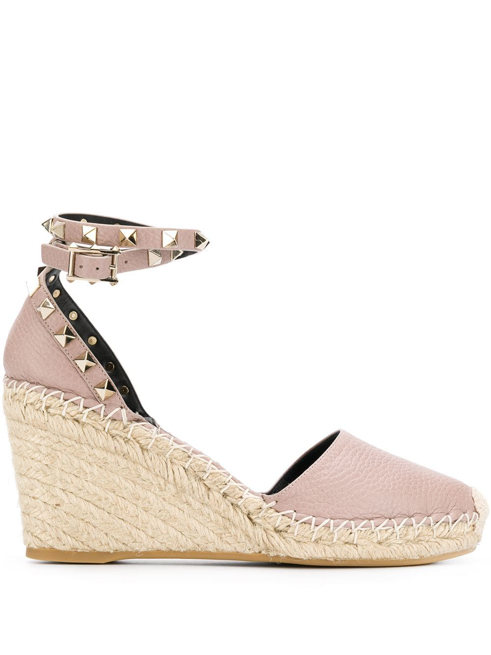 440cb48fc3f Valentino Rockstud Leather Wedge Espadrilles In Ivory