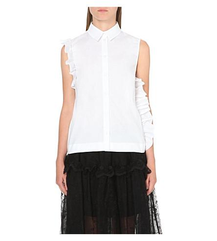 Simone Rocha Sleeveless Ruffled Cotton Poplin Shirt In White