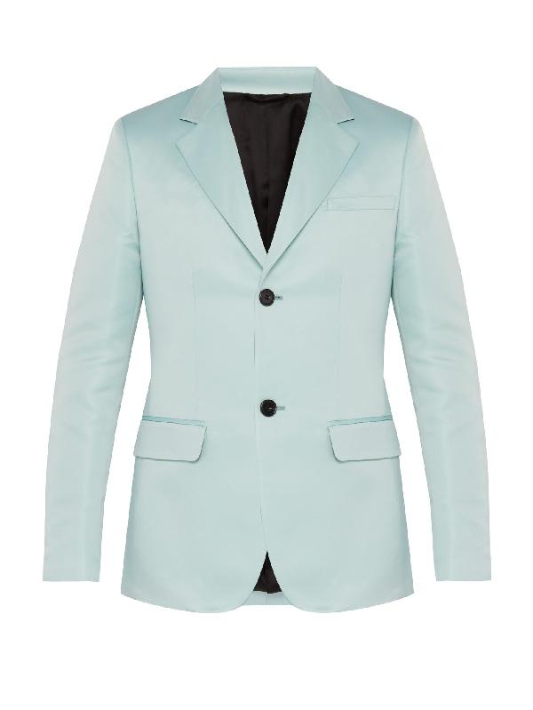 Raf Simons Slim-fit Satin Blazer In Light Blue