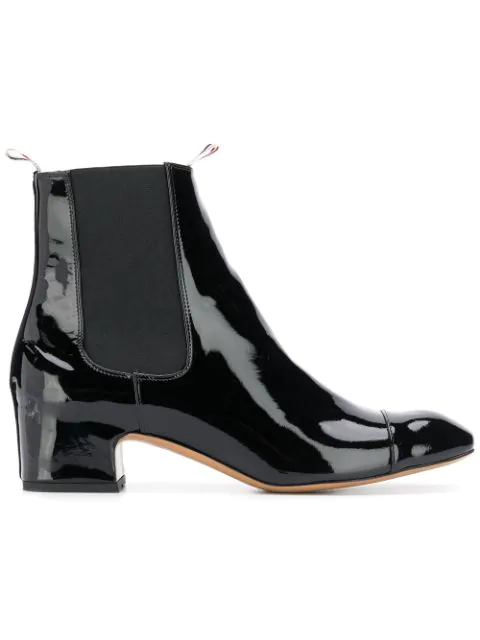 Thom Browne Block Heel Patent Leather Chelsea Boot In Black