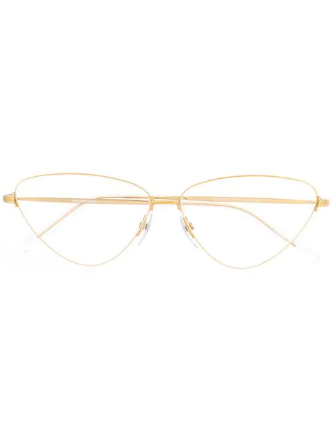 Balenciaga Triangular Shaped Glasses In Gold