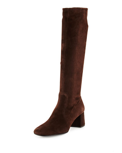Prada Stretch-Suede Knee Boot, Brown In Moro