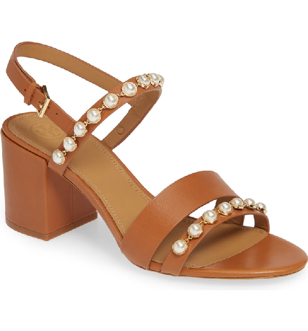d7664d6026 Tory Burch Emmy Pearly Studded Block-Heel Sandals In Tan Leather ...
