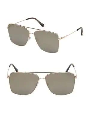 Tom Ford Magnus 60Mm Square Aviator Sunglasses In Rose Gold
