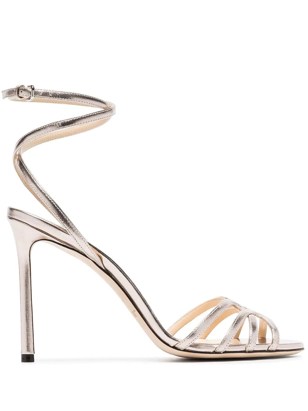 8d8a9252320 Jimmy Choo Mimi 100 Bronze Leather Sandals In Metallic