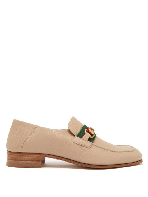 Gucci - Donnie Horsebit Leather Loafers - Mens - Beige