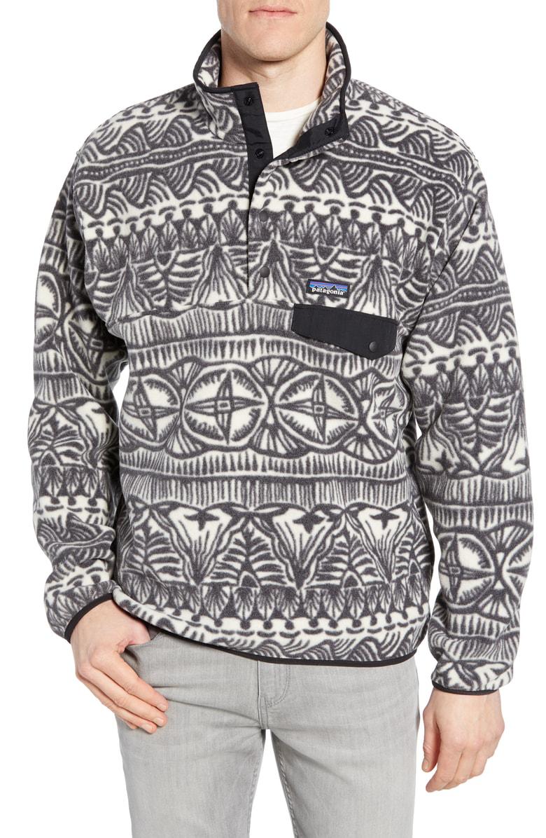 9e62e58a916d5 Patagonia Synchilla Snap-T Fleece Pullover In Tradewinds Big Ink Black