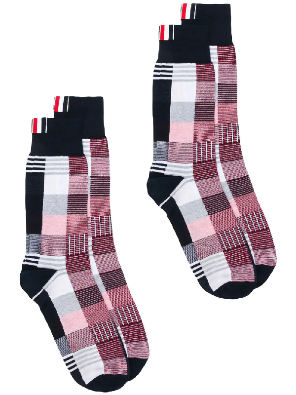 8028b7d961d5 Thom Browne Fun-Mix Check Mid-Calf Socks - Multicolour   ModeSens