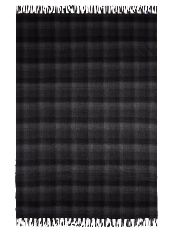 Bottega Veneta Taurus Plaid Cashmere Blanket In Grey