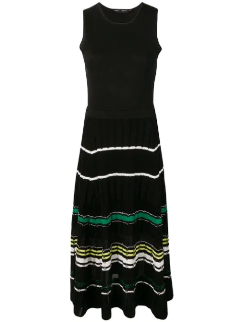 Proenza Schouler Striped Ribbed-Knit Cotton-Blend Midi Dress In  Black