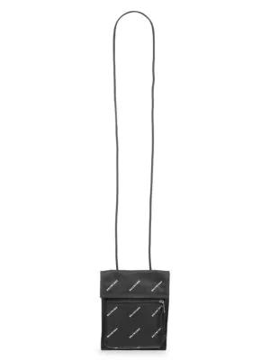 3ab36ad789 Balenciaga Logo Explorer Pouch Strap In 1060Blkwht | ModeSens