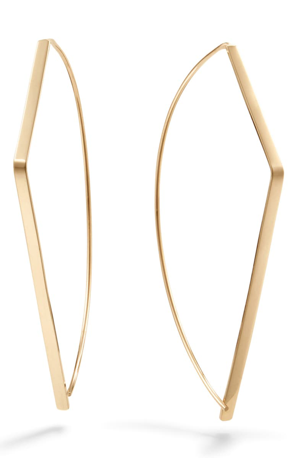 Lana Angled Upside Down Hoop Earrings In Yellow Gold