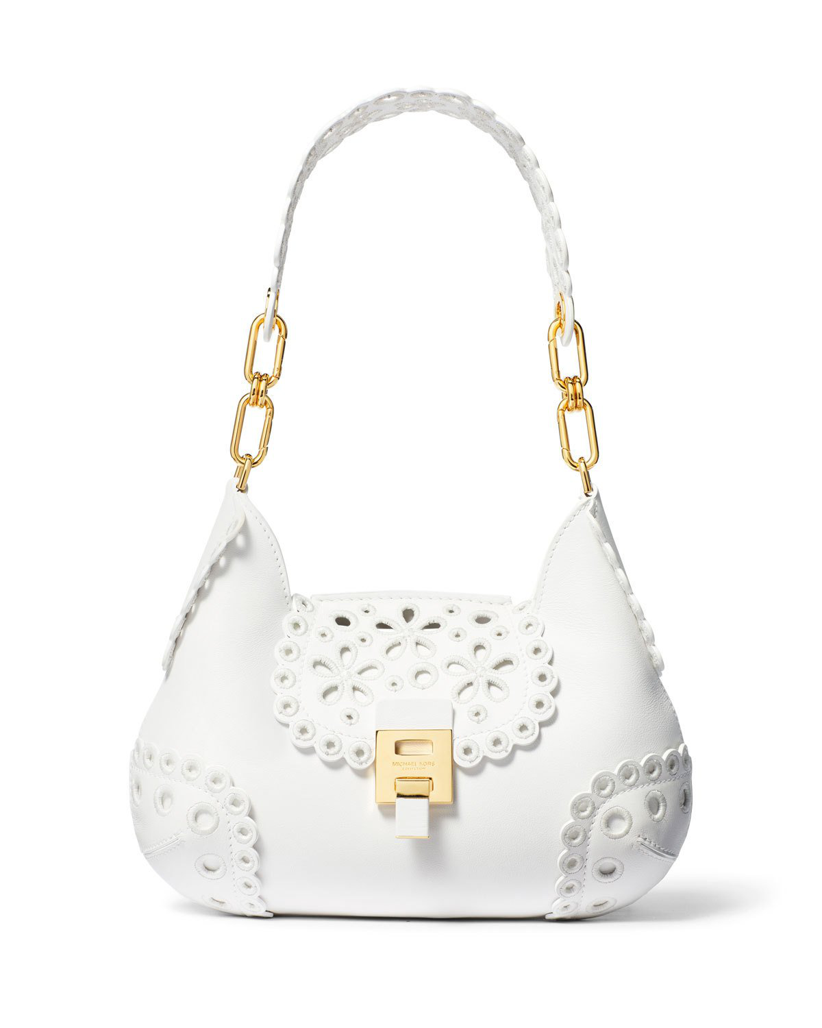 be14b205126f Michael Kors Bancroft Embroidered Shoulder Bag In White | ModeSens