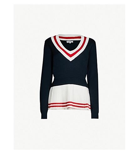 Claudie Pierlot Miranda Wool-Blend Knit Jumper In Navy