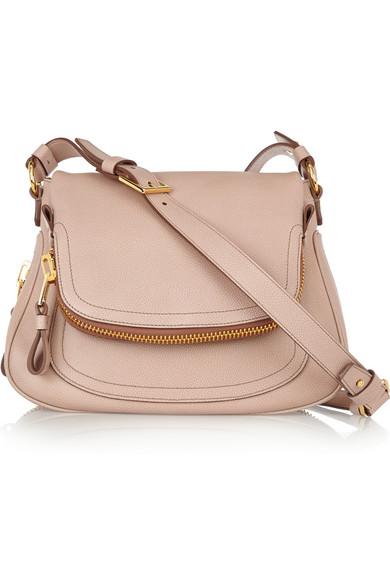 Tom Ford Jennifer Medium Textured-Leather Shoulder Bag In Pink