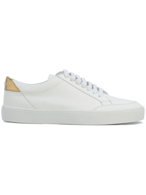 Burberry Westford Perforated Leather Low-Top Sneakers, White