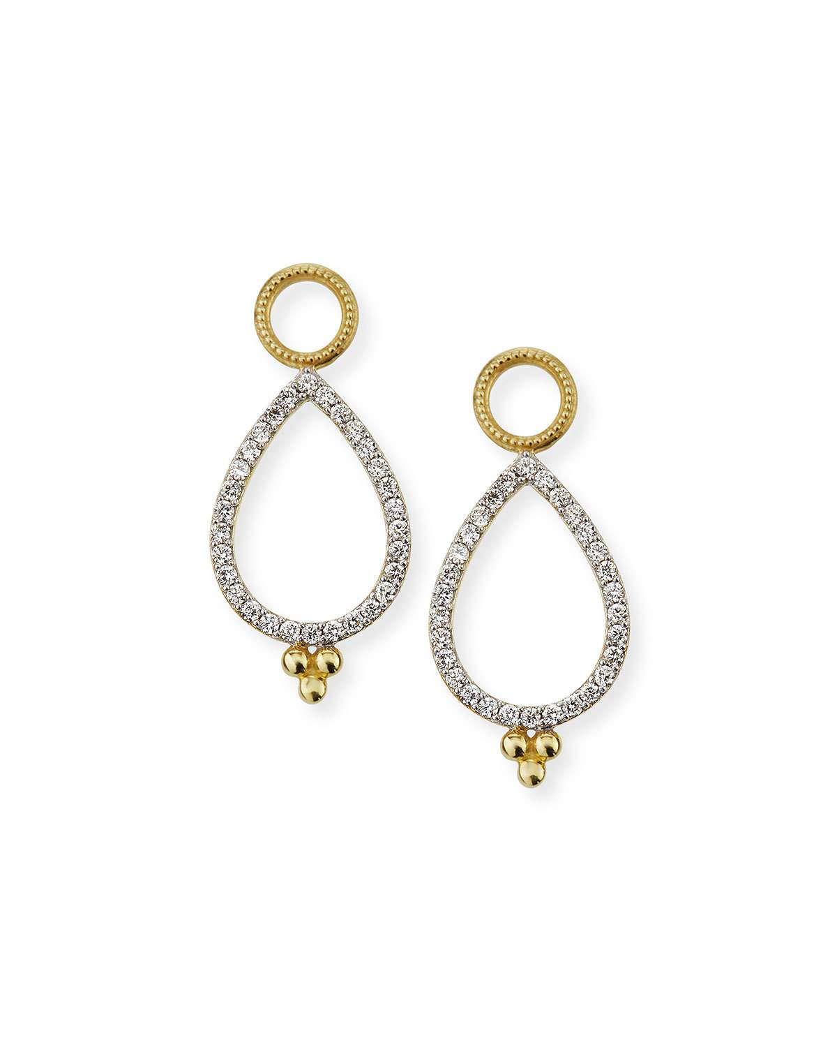 Jude Frances Provence 18K Delicate Open Pear Pave Earring Charms In Gold